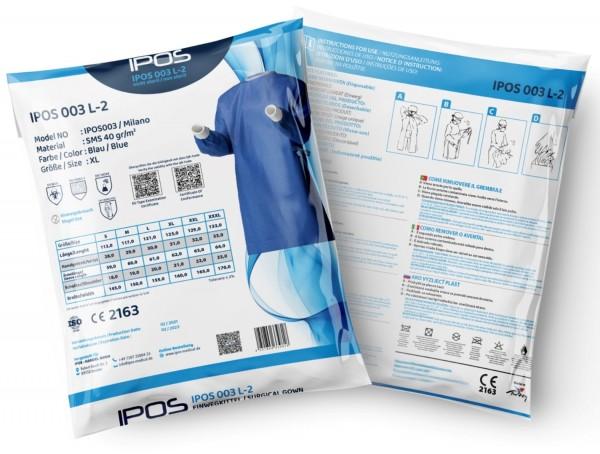IPOS OP-Kittel unsteril 40g/m² SMS blau