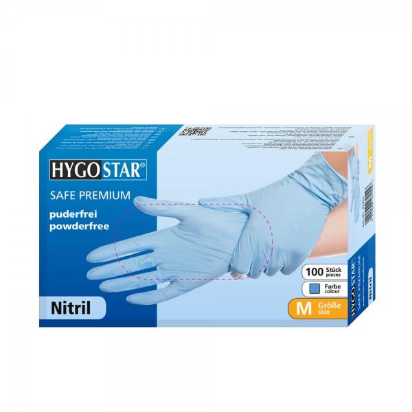 "Nitril-Handschuhe ""Safe Premium"" blau, 100 Stück | Nitril Einweghandschuhe blau, puderfrei"